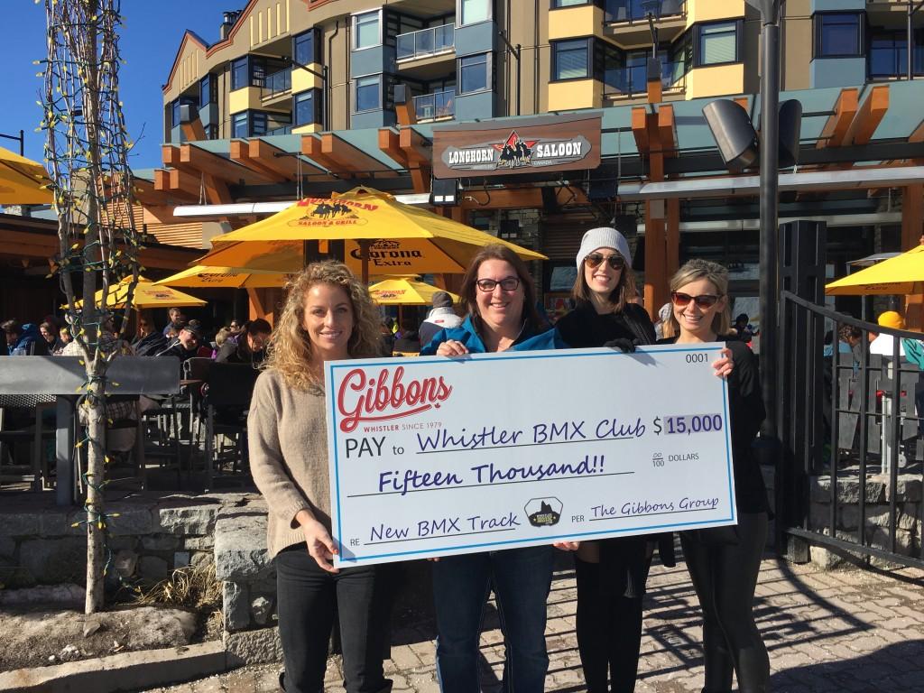 Gibbons Whistler Donates $15,000 to Whistler BMX