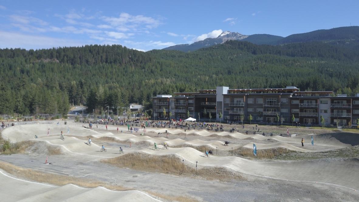 Whistler BMX Drone Image With Mountain
